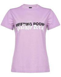 Pinko Neutraal T-shirt Met Letters - Paars