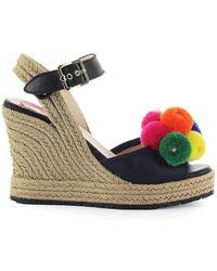 05cbf57ccd344 Shoes Black Wedge Pompon Sandal Ss 2019