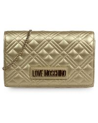 Love Moschino Quilted Nappa Goud Clutch - Metallic