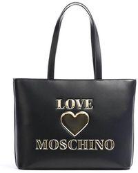 Love Moschino - BORSA SHOPPING NERA LOGO - Lyst