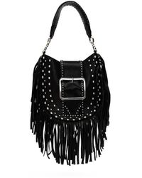 DSquared² Nappa Leather Shopping Bag With Fringes - Black