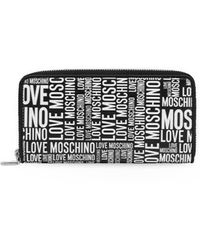 Love Moschino Large Wallet With White Logo - Black