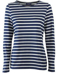 Saint James Minquidame Blauw Ecru T-shirt Met Lange Mouwen