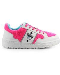 Chiara Ferragni Cf1 Eco Fur Neon Roze Sneaker - Wit