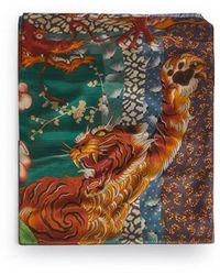 DSquared² Peacock Print Silk Stole - Multicolour