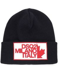 DSquared² Milano Patch Zwart Wool Beanie