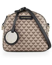 Emporio Armani Monogram Beige Crossbody Bag - Natural