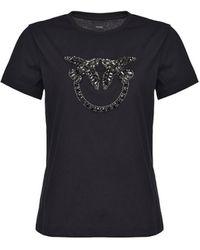 Pinko Quentin 1 T-shirt Met Logo - Zwart