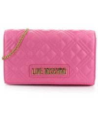 Love Moschino Quilted Nappa Pink Clutch