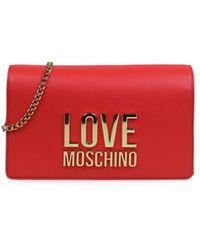 Love Moschino Rode Clutch Met Logo - Rood