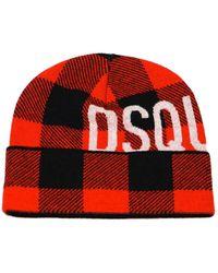 DSquared² Buffalo Lumberjack Zwart Rood Beanie