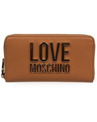 Love Moschino Light Brown Large Wallet With Gold Logo