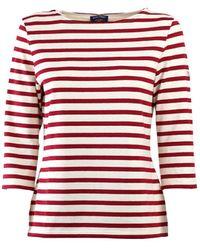 Saint James Huitriere Iii Ecru Rood T-shirt Met 3/4 Lengte Mouwen - Wit