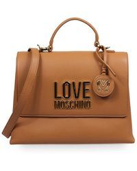 Love Moschino Lichtbruine Handtas Met Gouden Logo