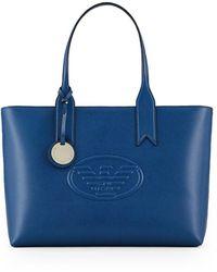 Emporio Armani Elektrische Blauwe Shopper Met Logo