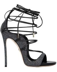 DSquared² Riri Zwart Glitter Gehakt Sandal