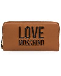 Love Moschino Lichtbruine Grote Portemonnee Met Gouden Logo