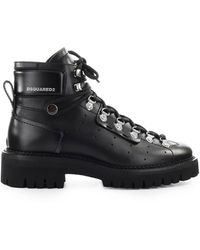 DSquared² Hiking Hector Leather Combat Boot - Black
