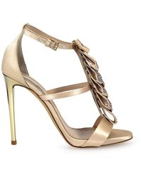 Ninalilou Swarowski Ribbon Powder Beige Heeled Sandal - Natural