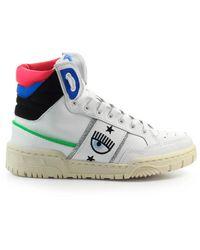 Chiara Ferragni Cf1 High Blauw Sneaker - Wit