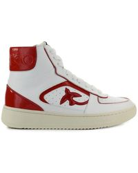 Pinko Harlow Basket Rood Hoge Sneaker - Wit