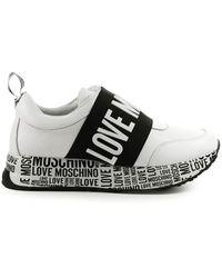 Love Moschino Witte Sneaker Met Band