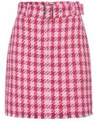 Pinko Accurato Macrocheck Red Miniskirt - Pink