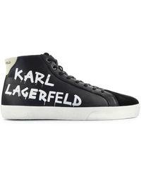 Karl Lagerfeld - Skool Zwarte Hoge Sneaker - Lyst