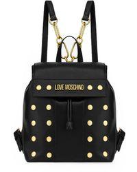 Love Moschino Zwarte Rugzak Met Gouden Studs