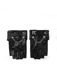 Karl Lagerfeld K/seven Leather Gloves - Black