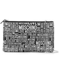 Love Moschino Clucth Met Wit Logo - Zwart