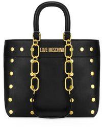 Love Moschino Zwarte Shopper Met Gouden Studs
