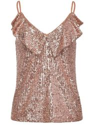 Pinko TOP ASSENTE PAILLETTES OR ROSE