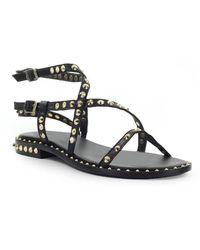 Ash Petra Zwarte Platte Sandaal
