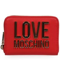 Love Moschino Red Small Wallet With Gold Logo