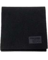 DSquared² Patch Wool Scarf - Zwart