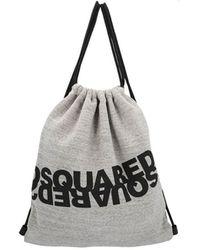 DSquared² Melange Grijs Logo Fabric Rugzakken