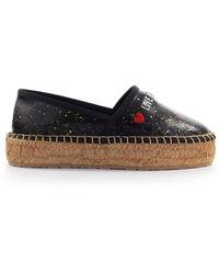 Love Moschino Black Napppa Leather Espadrilles