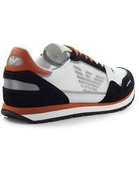 Emporio Armani Zwart Roest Mesh Sneaker - Wit