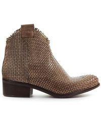 Zoe Taupe Braided Ankle Boot - Natural