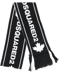 DSquared² Zwart Jacquard Sjaal Met Witte Logo