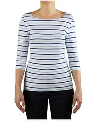 Saint James Garde-cote Iii Lichtblauw T-shirt Met 3/4 Mouwen - Wit