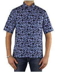 Paolo Pecora Camicia Popeline Azzurra Fantasia - Blue