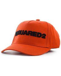 DSquared² D2 Logo Baksteen Zwart Baseball Cap - Rood