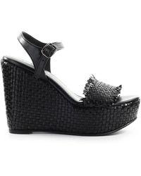 Strategia Black Braided Wedge Sandal