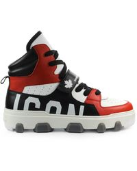 DSquared² Icon Basket Wit Zwart Sneaker - Rood