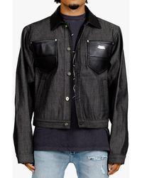 Sankuanz Leather Trim Denim Jacket - Black