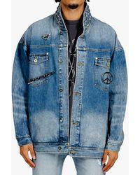 Sankuanz Metal Badge Denim Jacket - Blue