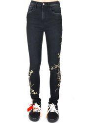 Marcelo Burlon Cherry Blossom Skinny Jeans - Black