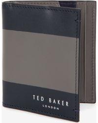 Ted Baker Striped Leather Bi-Fold Wallet - Lyst